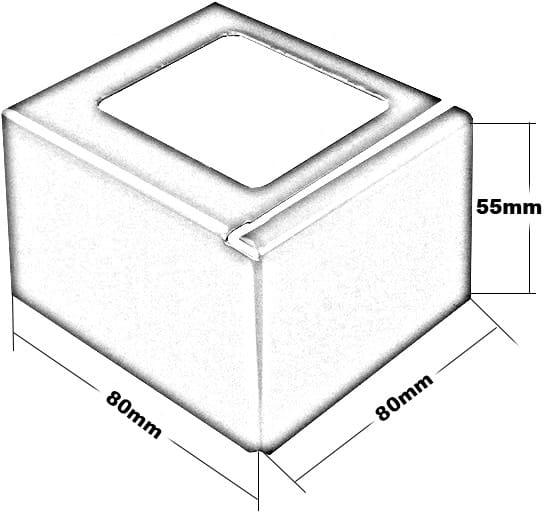 Balkonecke aus Edelstahl in L-Form Höhe 55 mm