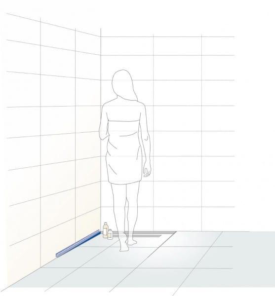 Gefällekeil Wandanschluss Illustration links