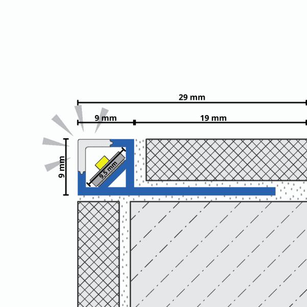 LED Quadratprofil mit Abdeckung Zeichnung