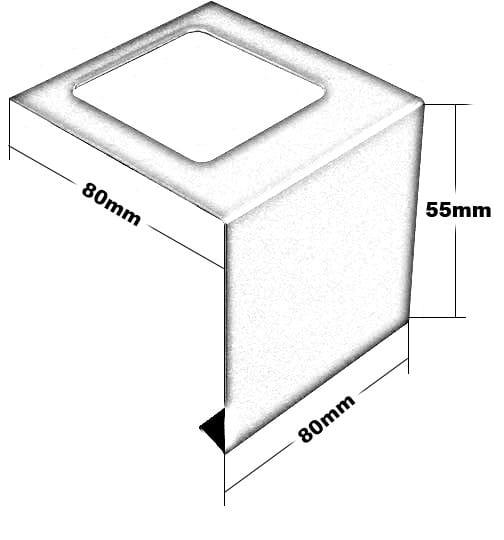 Edelstalverbinder für Balkonprofile in L-Form 55 mm