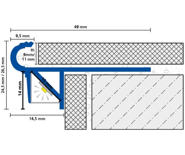 DURAL LED Treppenprofil im Florentiner Stil Zeichnung