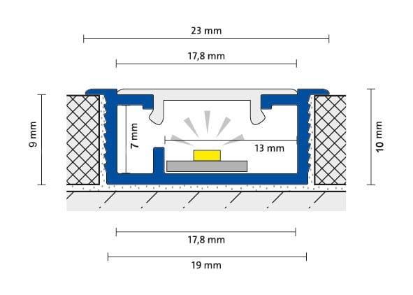 DURAL LED Basisprofil 9 mm Zeichnung