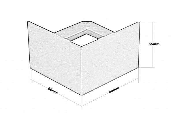 Balkonecke T-Form Höhe 55 Zeichnung