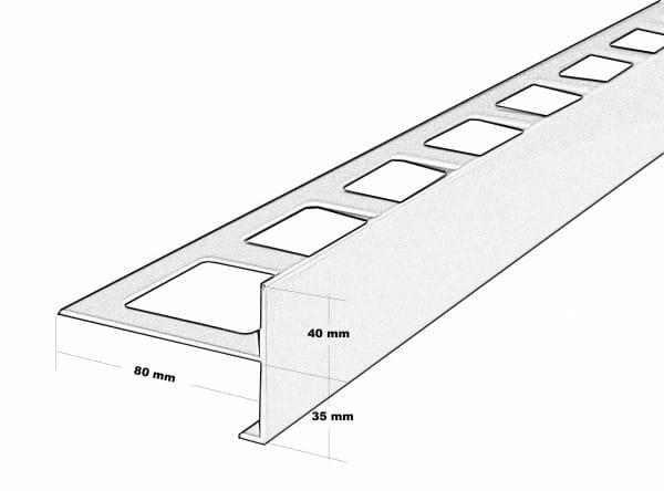 Balkonprofil T-Form Höhe 75 Zeichnung